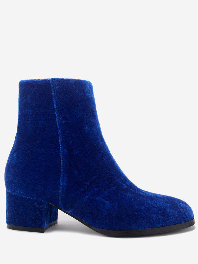 Affordable Chunky Heel Almond Toe Velvet Ankle Boots