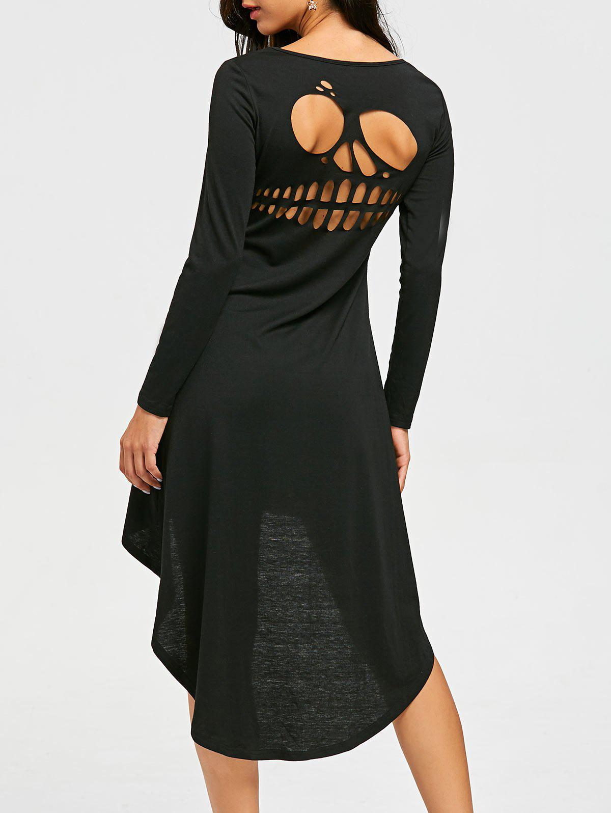 Online Halloween Skull Cut Out High Low Dress