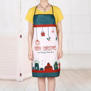Christmas Cartoon House Print Waterproof Kitchen Apron -