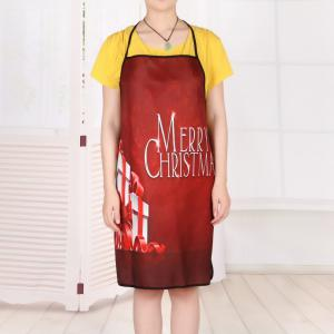Christmas Gifts Print Waterproof Kitchen Apron - RED 80*70CM