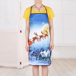 Christmas Moon Santa Sleigh Waterproof Kitchen Apron -