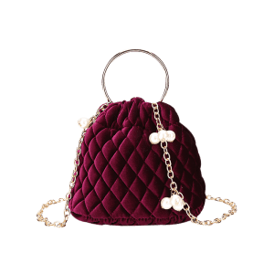 Faux Pearl Stitching Quilt Crossbody Bag - Rouge
