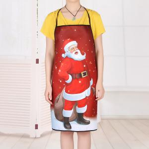 Santa Claus Print Waterproof Christmas Kitchen Apron -