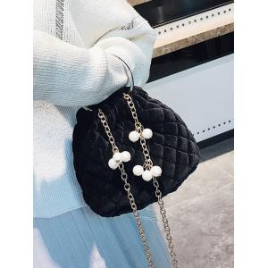 Faux Pearl Stitching Quilted Crossbody Bag - BLACK