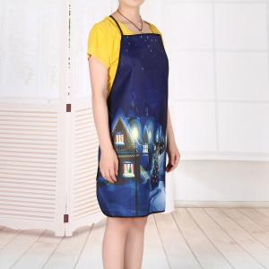 Village Christmas Night Print Waterproof Kitchen Apron -