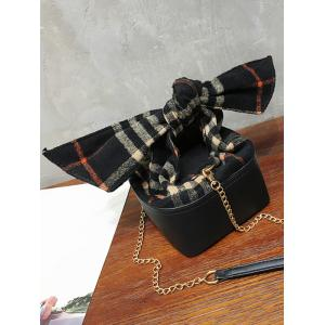 Box Shape Chain Plaid Crossbody Bag -