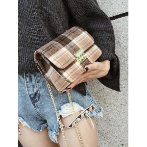 Chain Plaid  Color Block Crossbody Bag -