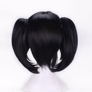 Short Side Bang Pigtail Straight Anime Love Live Yazawa Nico Cosplay Synthetic Wig - BLACK