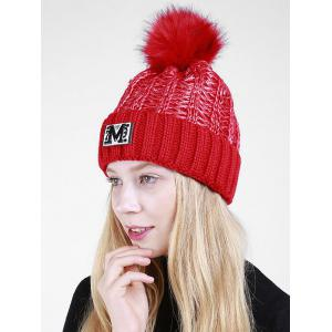 Lettre M Embellished Thicken Knit Pom Beanie - Rouge