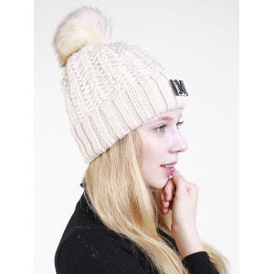 Lettre M Embellished Thicken Knit Pom Beanie -