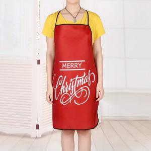 Merry Christmas Letters Print Waterproof Kitchen Apron -
