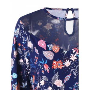 Plant Print T-shirt manches longues taille grande -