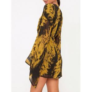 Tie Dye Plunge Flare Sleeve Dress - COLORMIX L