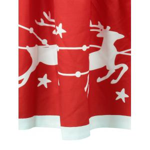 Christmas Star Elk Print A Line Skirt - RED S