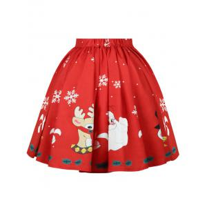 Christmas Snowflake Elk Santa Claus Print Skirt - RED XL