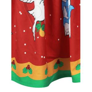 Christmas Bell Bird Printed A Line Skirt - RED L
