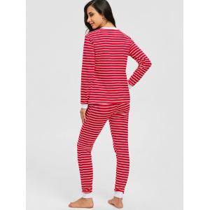 Long Sleeve Christmas Striped PJ Set - RED S