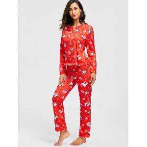 Flocon de neige de Noël Print Zip PJ Set - Rouge XS