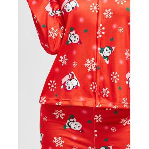 Flocon de neige de Noël Print Zip PJ Set - Rouge S