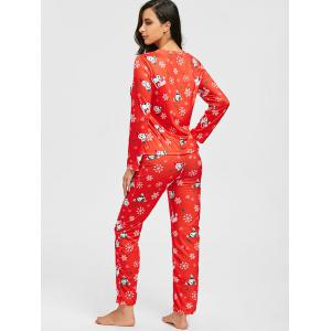 Flocon de neige de Noël Print Zip PJ Set - Rouge M