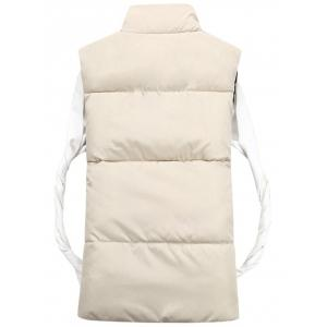 Snap Button Funnel Collar Quilted Vest - OFF-WHITE 2XL