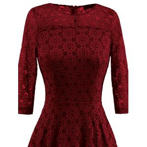 High Low Lace Crochet A Line Midi Dress - WINE RED M
