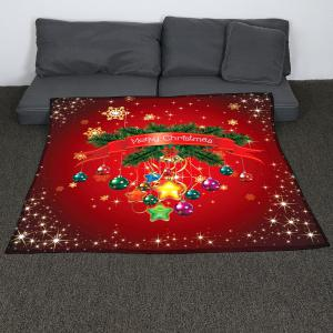 Christmas Baubles Pattern Coral Fleece Sofa Blanket - RED W59 INCH * L79 INCH