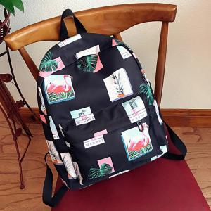 Print Patchwork School Backpack - BLACK
