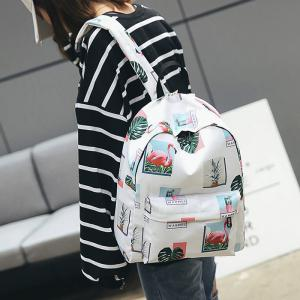 Print Patchwork School Backpack -