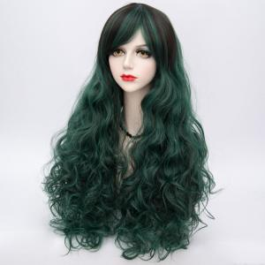 Long Side Bang Highlighted Fluffy Curly Synthetic Wig - BLACKISH GREEN