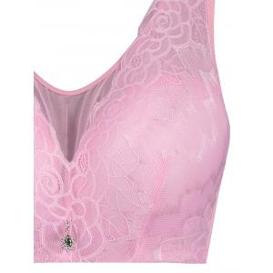 Lace Insert Padded Wirefree Plus Size Bra -