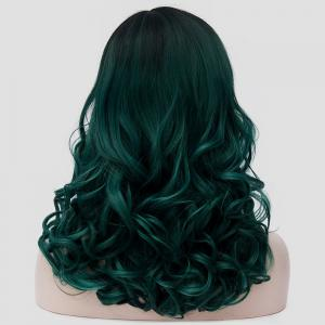 Medium Side Parting Shaggy Colormix Curly Synthetic Party Wig - BLACKISH GREEN