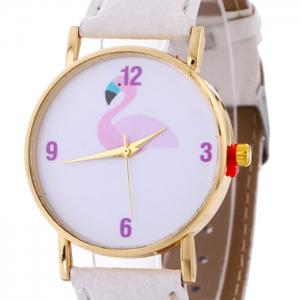Flamingo Face Faux Leather Strap Watch - WHITE