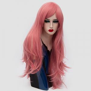 Long Side Fringe Layered Slightly Curly Synthetic Party Wig - PINK SMOKE