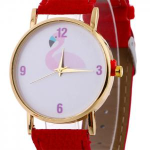Flamingo Face Faux Leather Strap Watch - Rouge