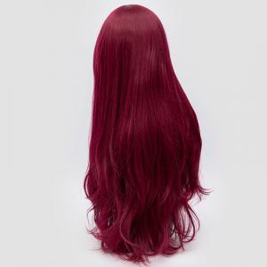 Long Side Fringe Layered Slightly Curly Synthetic Party Wig - PURPLISH RED