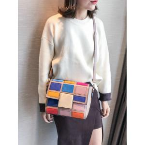 Color Blocking Plaid Crossbody Bag -