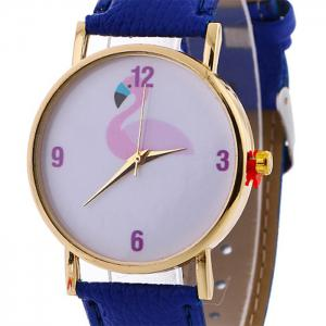 Flamingo Face Faux Leather Strap Watch -