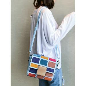 Color Blocking Plaid Crossbody Bag - BLUE
