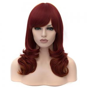 Medium Side Bang Layered Highlighted Slightly Curled Synthetic Party Wig -
