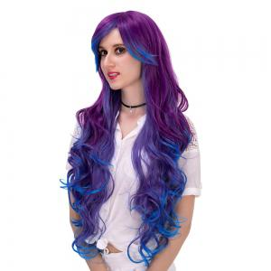 Long Side Bang Layered Curly Synthetic Colormix Party Wig -