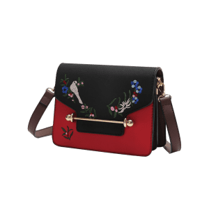 Flower Birds Embroidery Crossbody Bag - BLACK