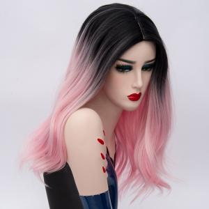 Long Middle Part Natural Straight Ombre Synthetic Party Wig - PINK