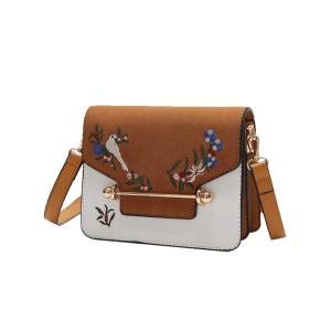 Flower Birds Embroidery Crossbody Bag - Brun