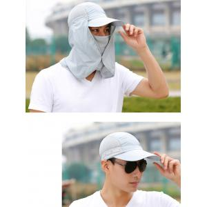 Outdoor Sport Fisherman Detachable Quick Dry UV Protection Hat - LIGHT GRAY