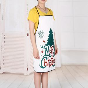 Christmas Tree Letters Print Waterproof Kitchen Apron -