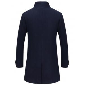 Single Breasted Longline Woolen Coat - CADETBLUE 2XL