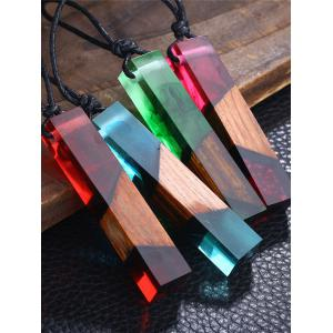 Wood Resin Geometric Pendant Collarbone Necklace - BLUE