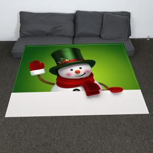 Coral Fleece Christmas Smiling Snowman Printed Blanket - GREEN+WHITE W31 INCH*L59 INCH