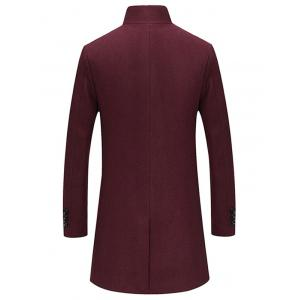 Single Breasted Longline Woolen Coat - WINE RED XL